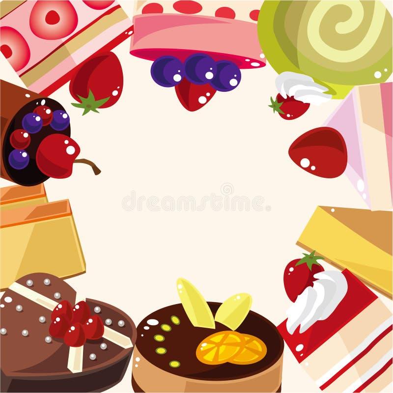 Cartão do bolo dos desenhos animados ilustração do vetor