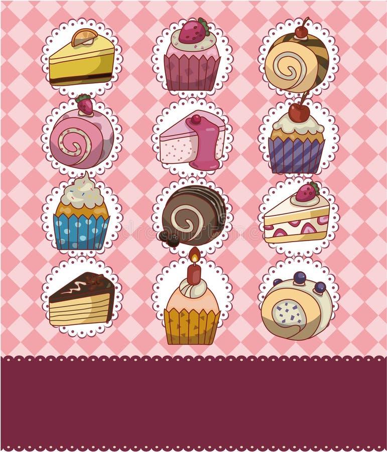 Cartão do bolo dos desenhos animados ilustração stock