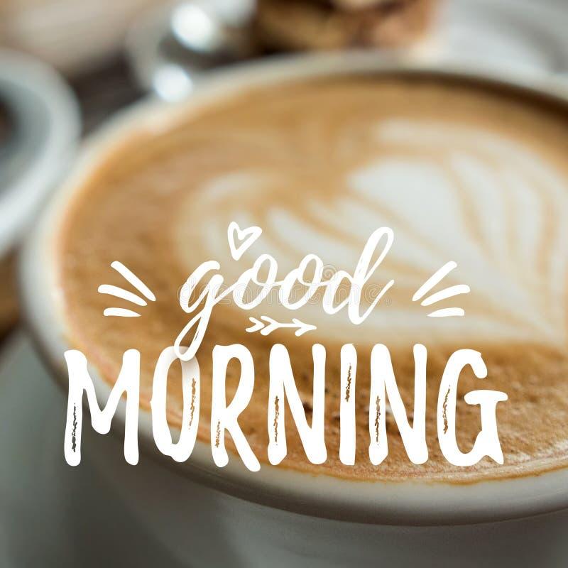 Cartão do bom dia com café foto de stock