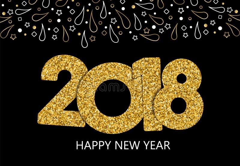 Cartão 2018 do brilho do ouro do ano novo feliz ilustração royalty free
