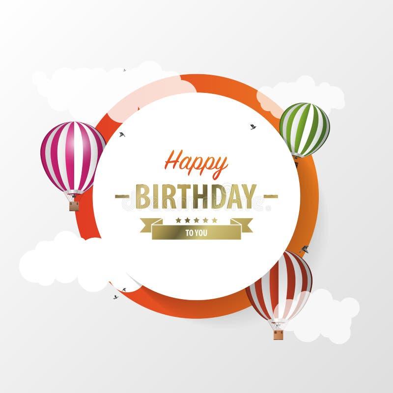 Cartão do círculo de papel com balões de ar celebration Vetor ilustração stock