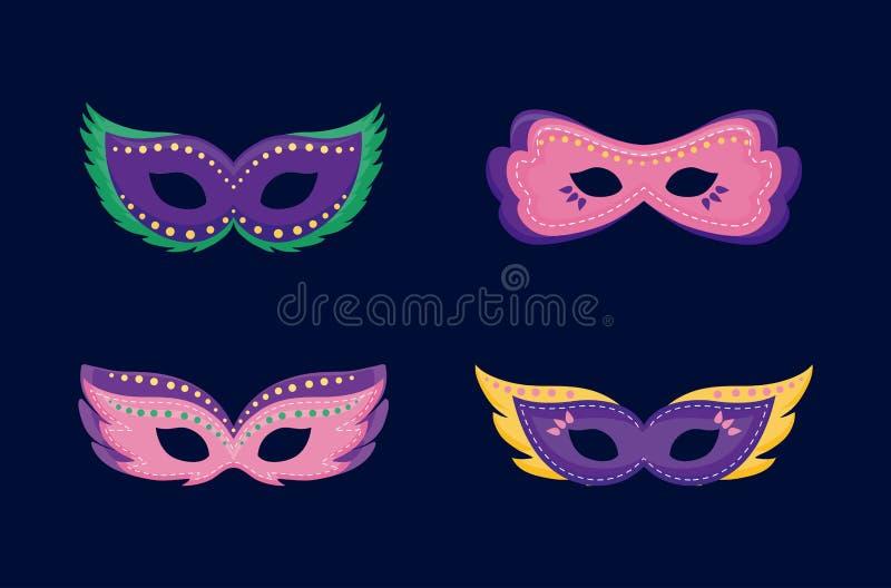 Cartão do carnaval com máscaras ilustração do vetor