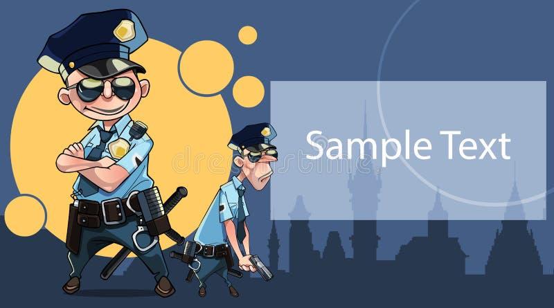 Cartão do cartaz com os dois polícias engraçados dos desenhos animados e espaço para o texto ilustração royalty free
