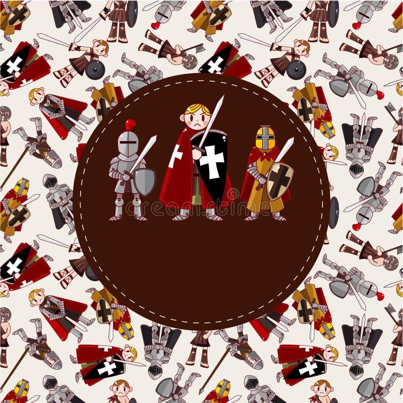 Cartão do cavaleiro dos desenhos animados ilustração stock