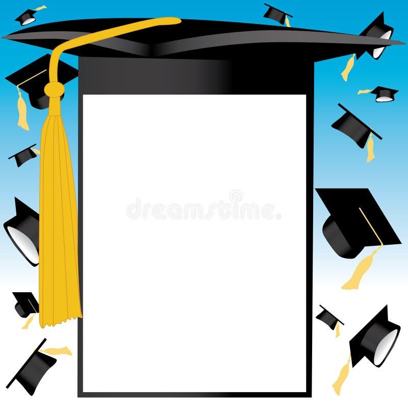 Cartão do chapéu da graduação ilustração stock