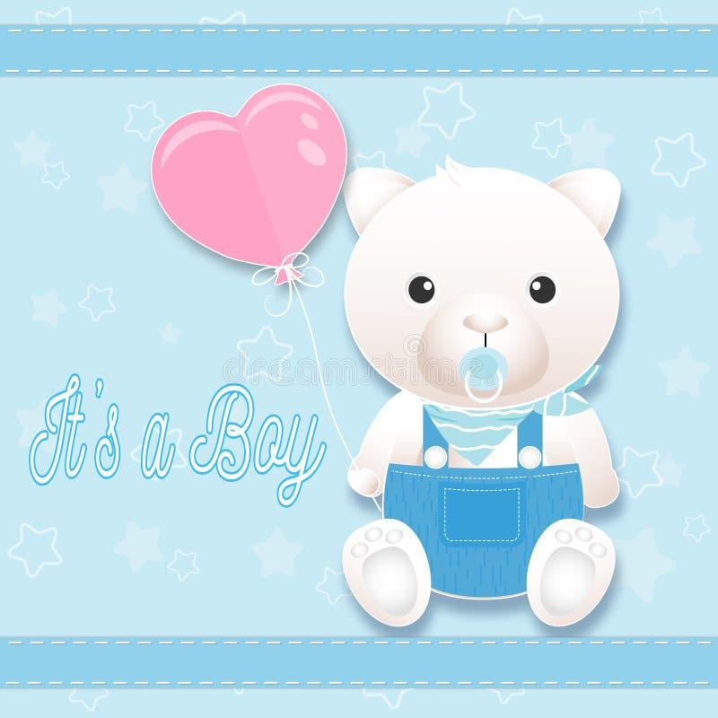 Cartão do chuveiro do bebê com o urso de peluche no azul Estilo da arte do papel do cartão ilustração royalty free