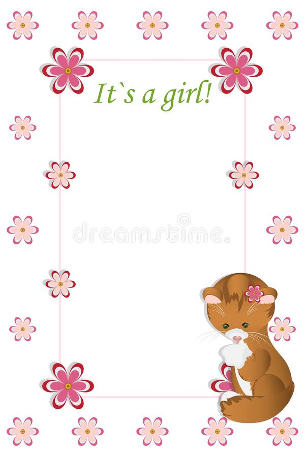 Cartão do chuveiro do bebê Cartão de chegada com lugar para seu texto Whi ilustração stock