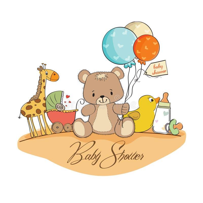 Cartão do chuveiro de bebê com brinquedos ilustração royalty free
