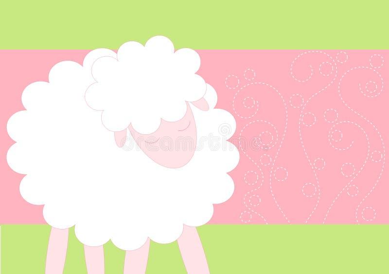 Cartão do chuveiro de bebê com carneiros ilustração do vetor