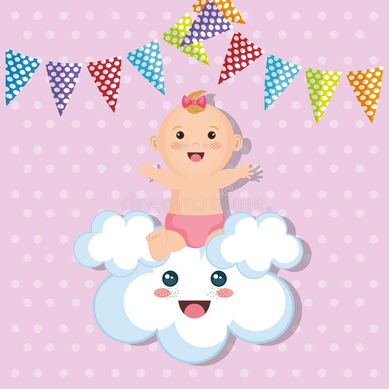 Cartão do chuveiro de bebê com menina ilustração stock