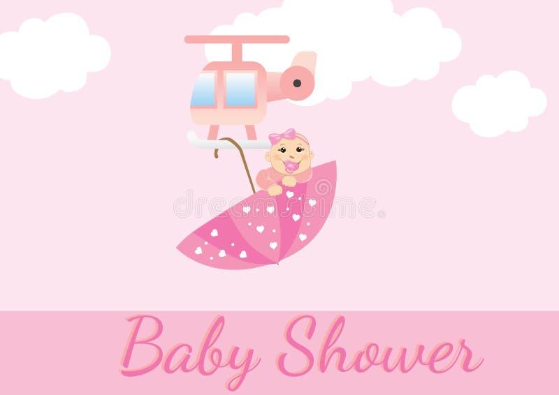 Cartão do chuveiro de bebê para meninas ilustração royalty free