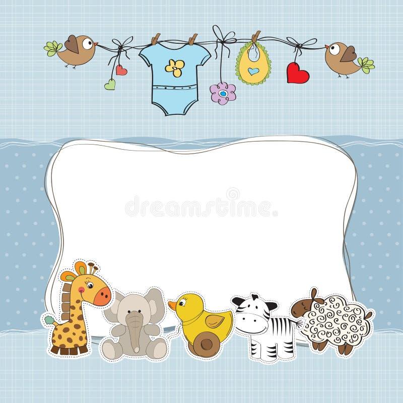 Cartão do chuveiro do bebé ilustração royalty free