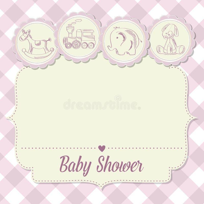Cartão do chuveiro do bebê com brinquedos retros ilustração stock