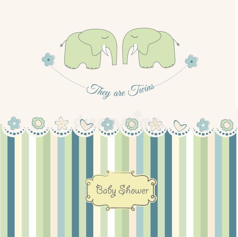 Cartão do chuveiro dos gêmeos do bebê ilustração do vetor
