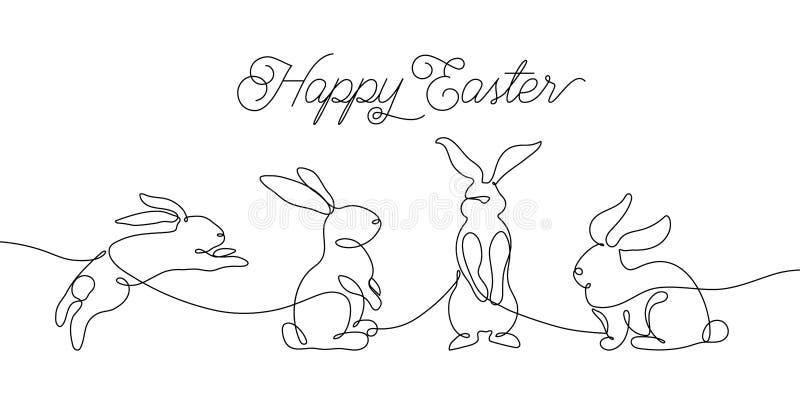 Cartão do coelhinho da Páscoa na uma linha estilo simples Ícone do coelho Ilustração mínima preto e branco do vetor do conceito ilustração royalty free