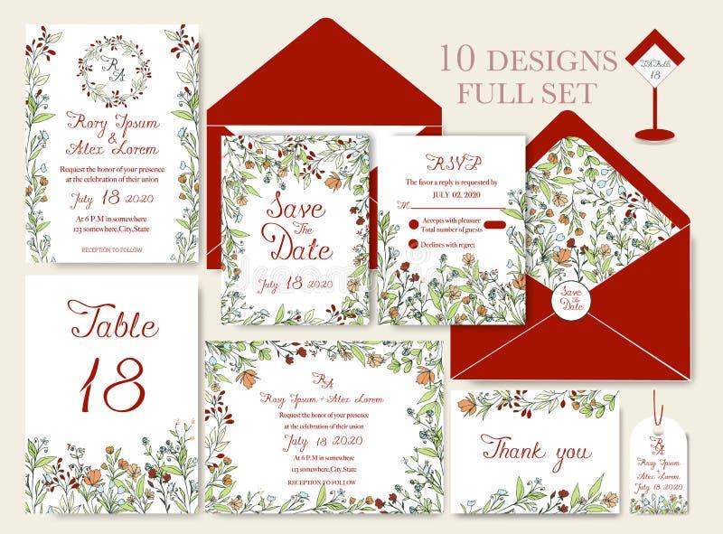 Cartão do convite do casamento com moldes da flor ilustração do vetor