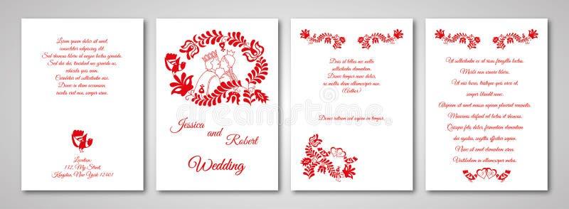 Cartão do convite do casamento com ornamento húngaro ilustração royalty free