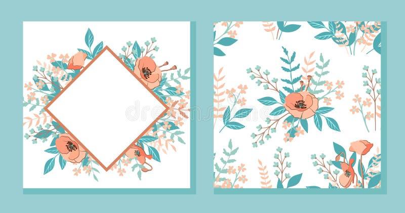 Cartão do convite do casamento com quadro tirado mão da flor e fundo floral do teste padrão sem emenda, Molde do projeto do vetor ilustração royalty free
