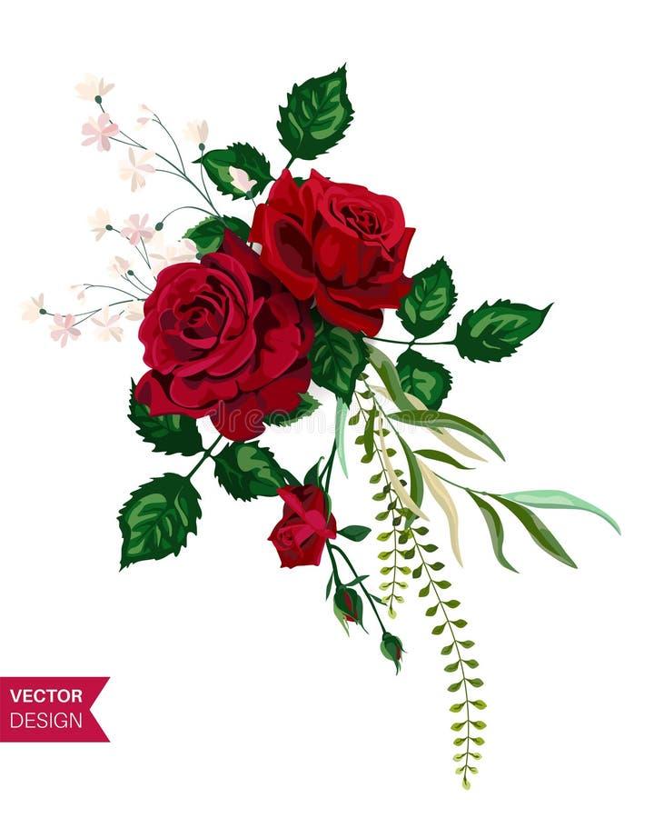 Cart?o do convite do casamento das rosas do vetor para o projeto 01 ilustração do vetor