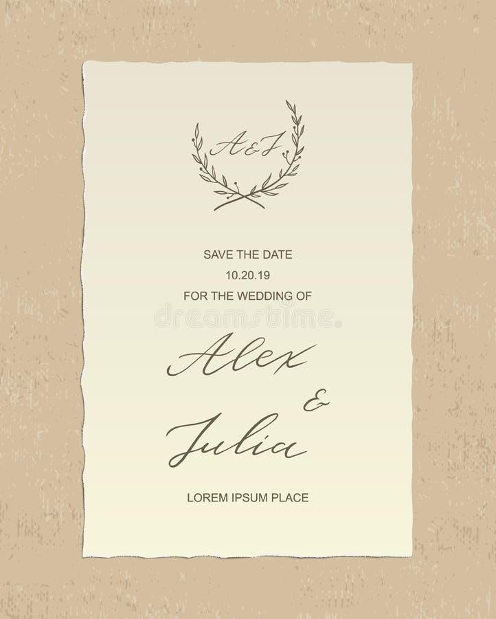Cartão do convite do casamento luxuoso de Alex e de Julia com texto tirado mão da caligrafia e etiqueta floral, em fundo textured ilustração stock