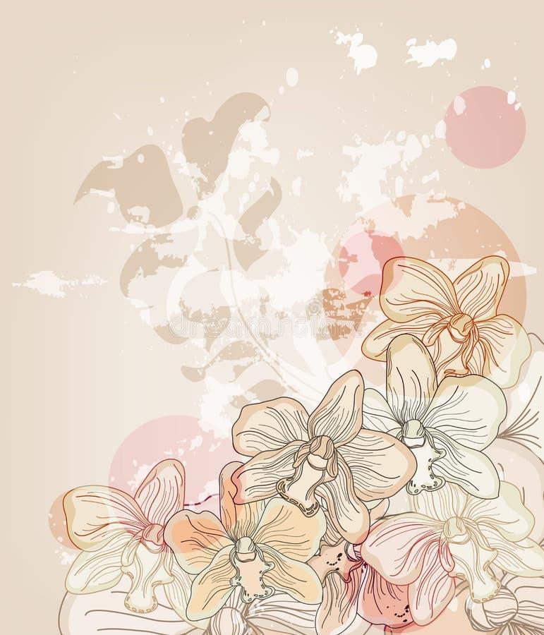 Cartão do convite com as orquídeas desenhadas mão ilustração stock