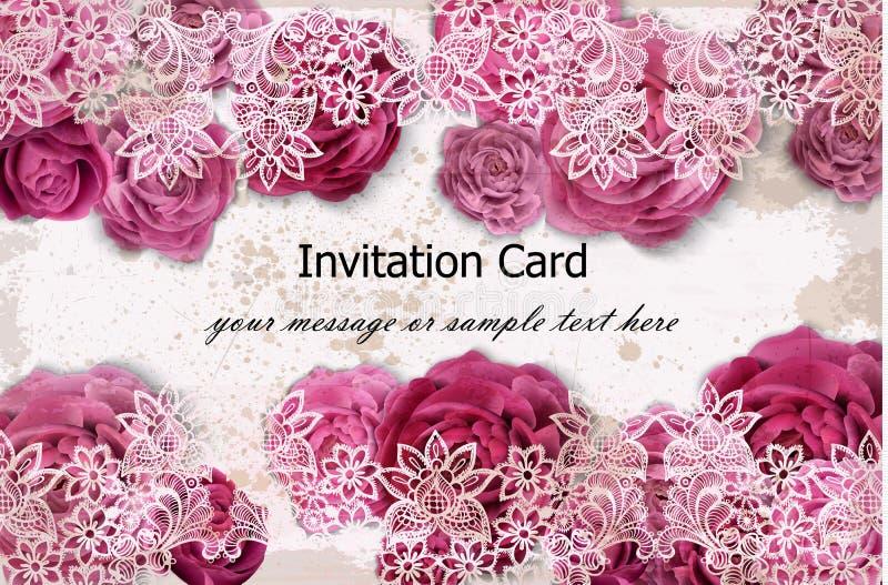 Cartão do convite com flores cor-de-rosa e a decoração delicada do laço Vetor ilustração royalty free