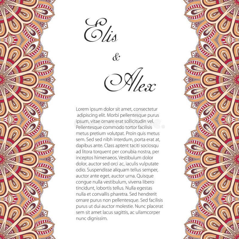 Cartão do convite com ornamento do laço ilustração do vetor