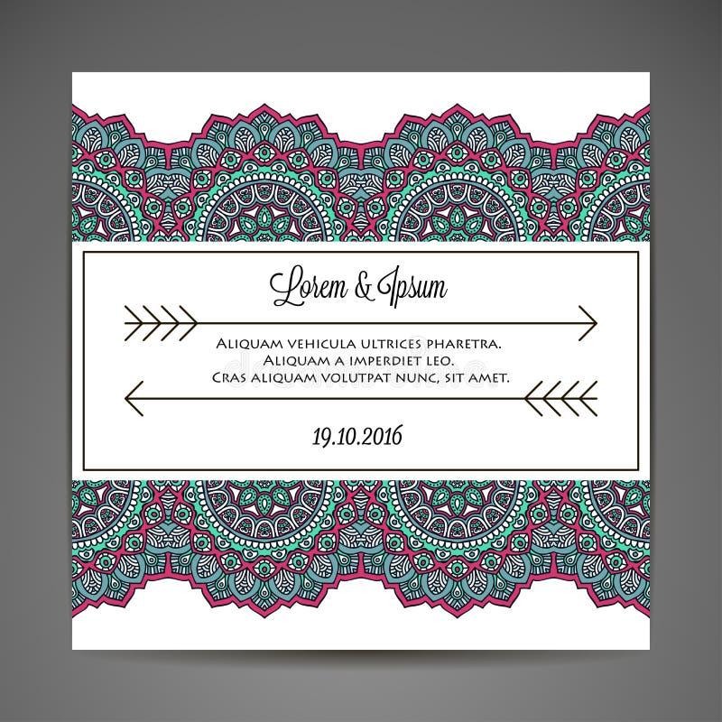 Cartão do convite com ornamento do laço ilustração royalty free