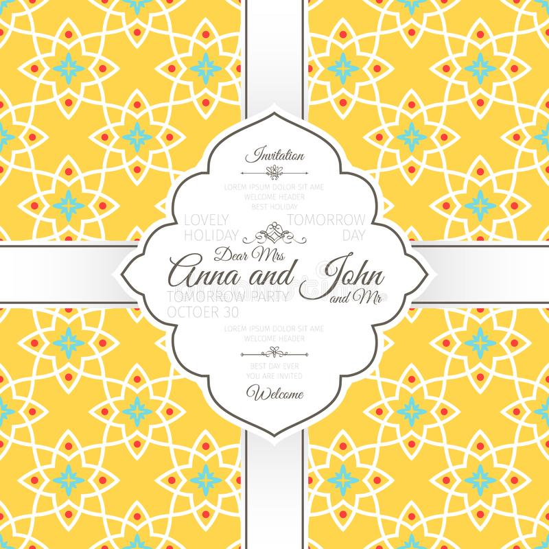 Cartão do convite com teste padrão amarelo islâmico ilustração royalty free
