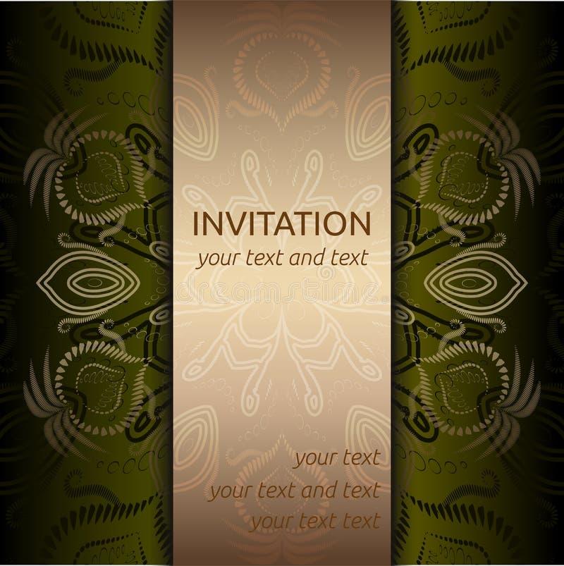 Cartão do convite com teste padrão e a fita dourados ilustração royalty free