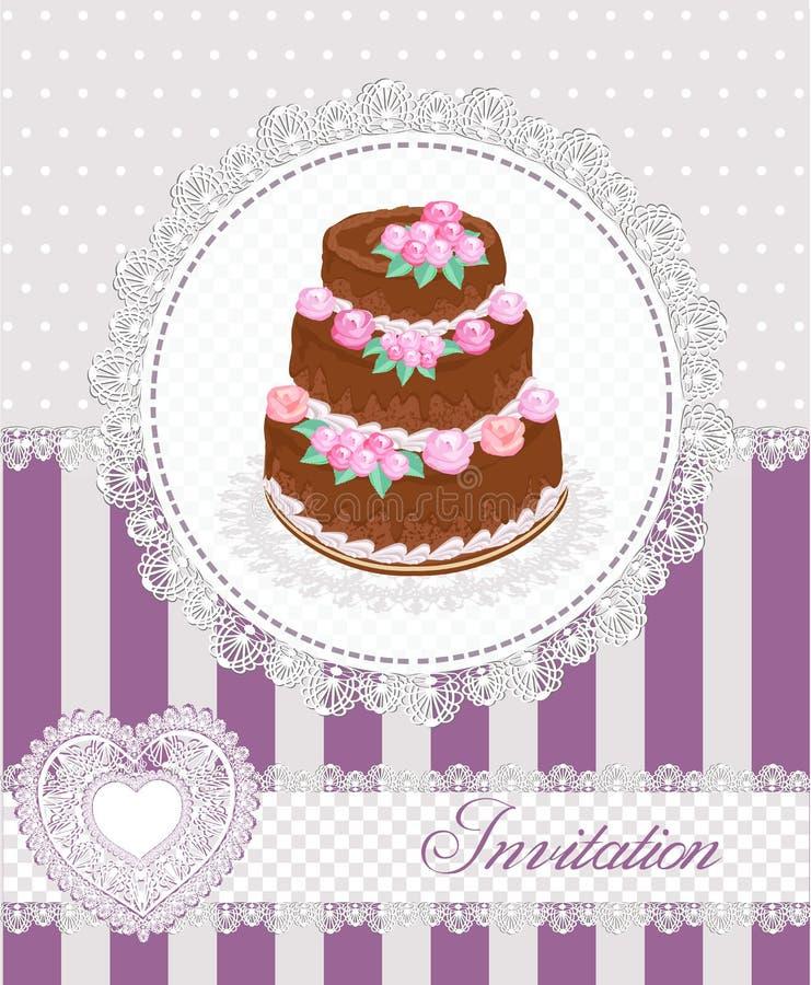 Cartão do convite com um bolo e um laço Ilustração do vetor ilustração do vetor