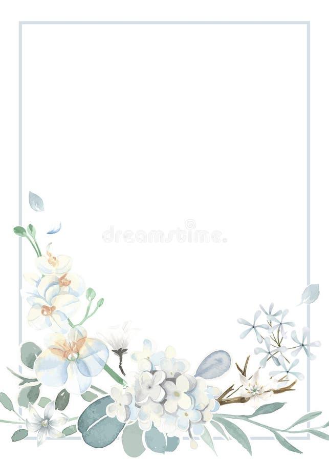 Cartão do convite com um claro - tema azul ilustração do vetor