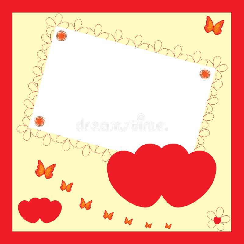 Cartão do convite - corações do amor ilustração do vetor