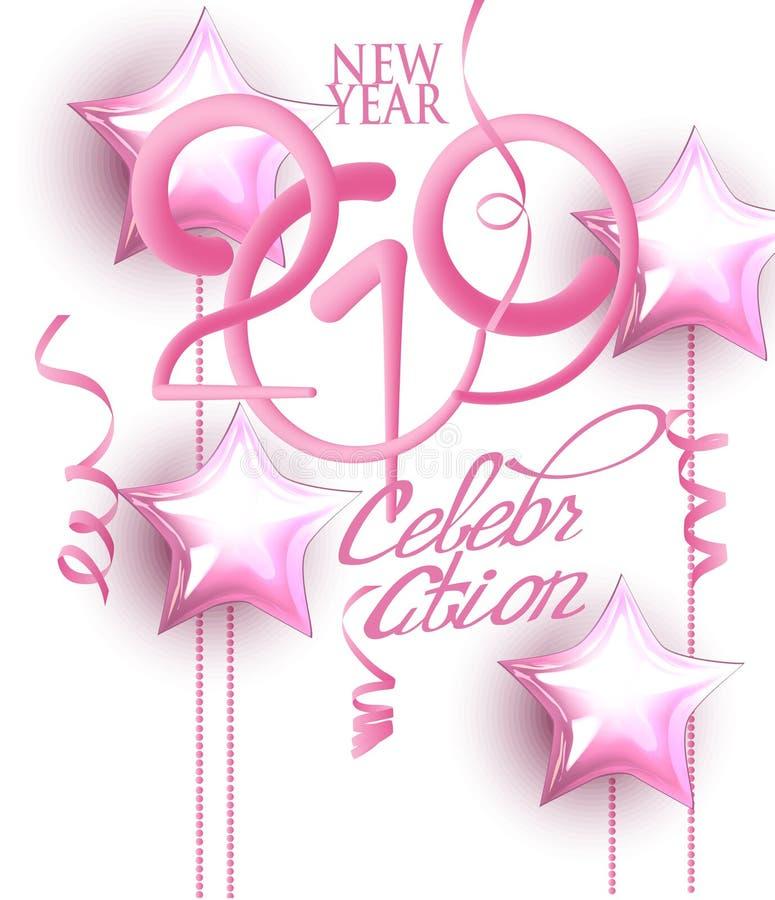 Cartão 2019 do convite da celebração do ano novo com decorações cor-de-rosa e números de volume ilustração stock