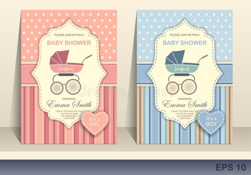 Cartão do convite da festa do bebé ilustração royalty free