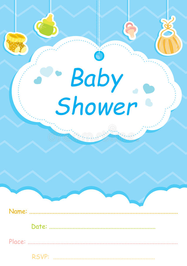 Cartão do convite da festa do bebê, azul com nuvens brancas imagens de stock royalty free
