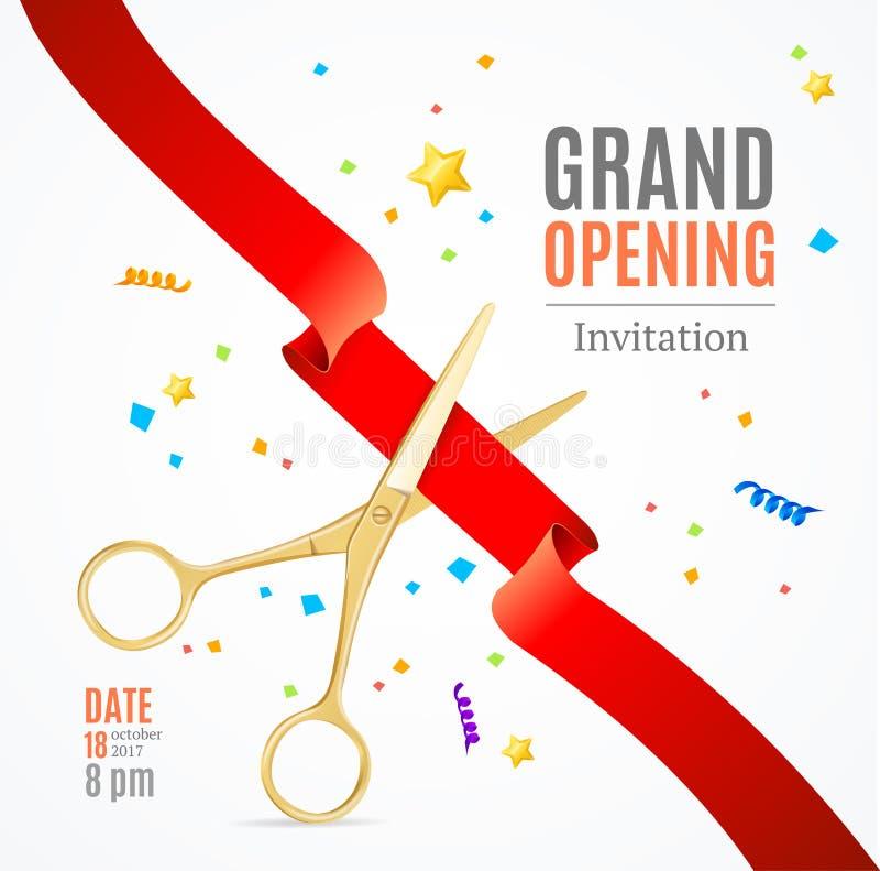 Cartão do convite da grande inauguração Vetor ilustração royalty free