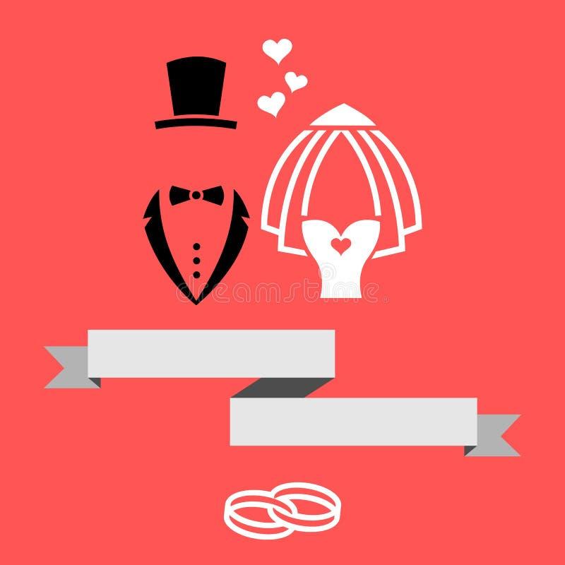Cartão do convite de And Bride Marriage do noivo com ilustração moderna lisa do vetor da bandeira & dos anéis ilustração royalty free