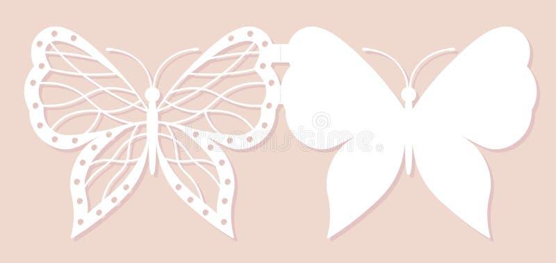 Cartão do convite, decoração do casamento, elemento do projeto Corte elegante do laser da borboleta Ilustração do vetor ilustração royalty free