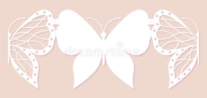 Cartão do convite, decoração do casamento, elemento do projeto Corte elegante do laser da borboleta Ilustração do vetor ilustração stock