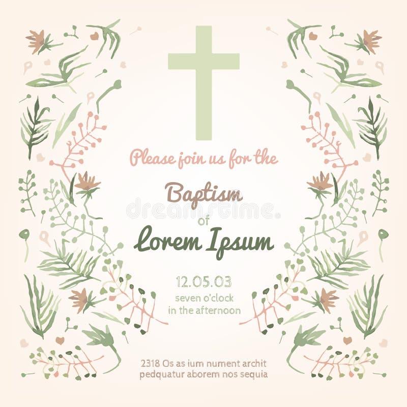 Cartão do convite do batismo ilustração stock