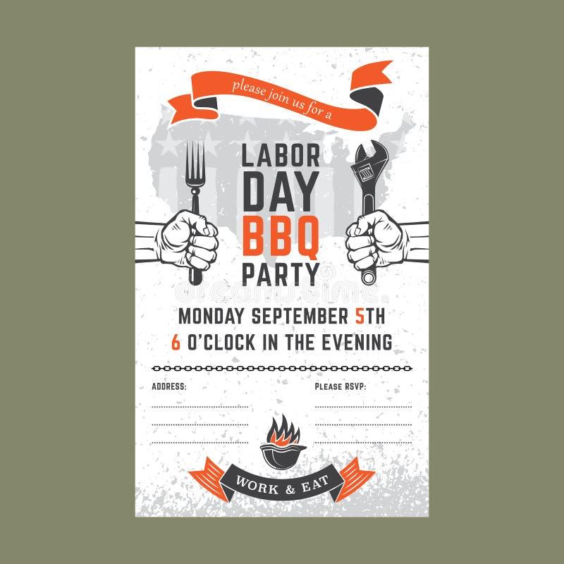Cartão do convite do BBQ do Dia do Trabalhador ilustração do vetor