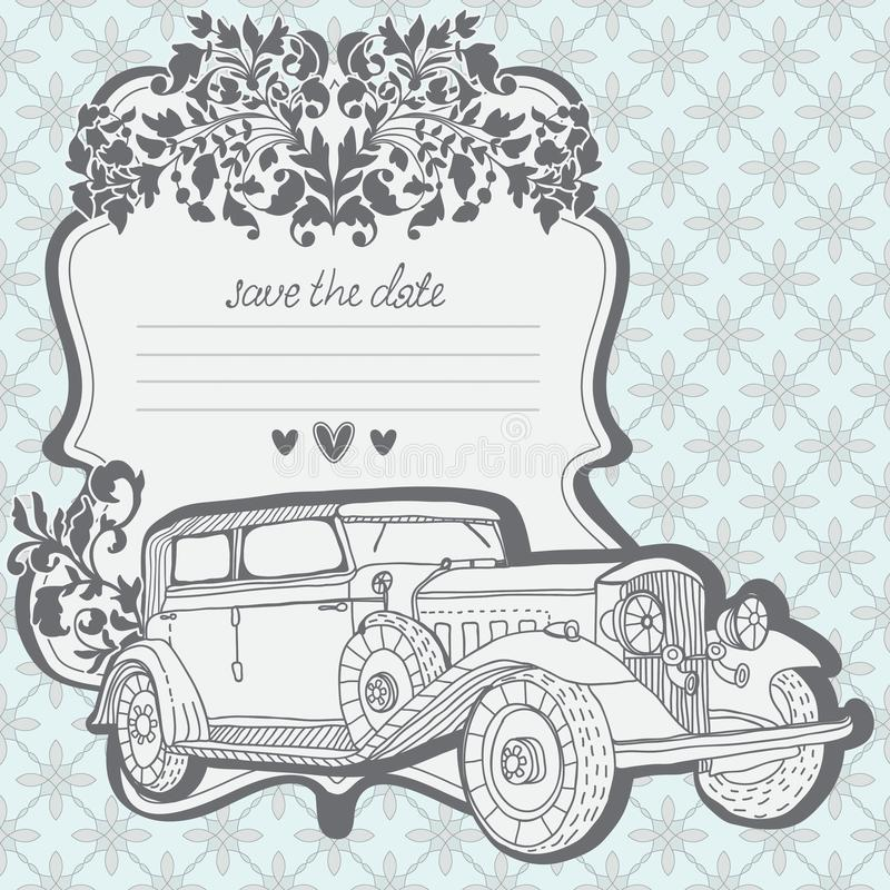 Cartão Do Convite Do Casamento Com Carro Retro Fotos de Stock Royalty Free