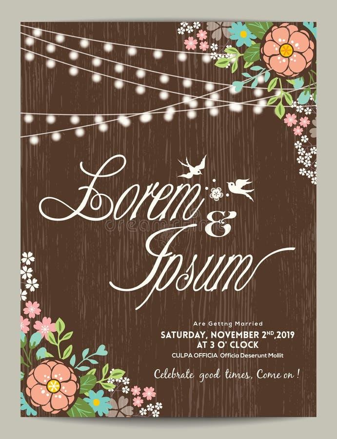 Cartão do convite do casamento com fundo floral abstrato ilustração stock