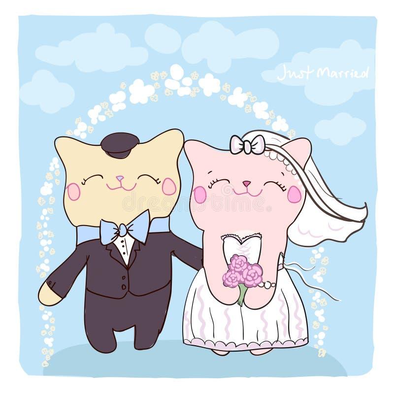 Cartão do convite do casamento com gatos bonitos. ilustração stock