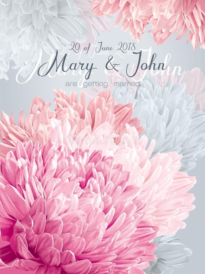 Cartão do convite do casamento do áster ilustração do vetor