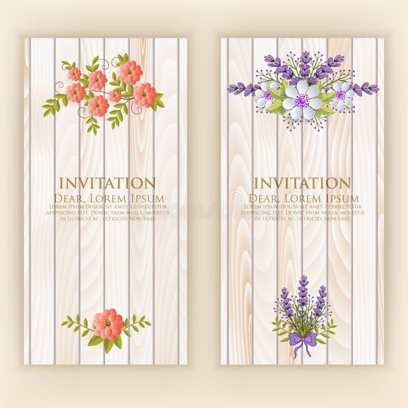 Cartão do convite do casamento Vector o cartão do convite com elementos elegantes da flor com texto no fundo de madeira ilustração do vetor
