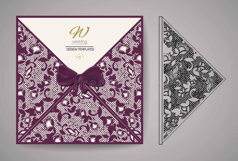 Cartão do convite do corte do laser Teste padrão do corte do laser para o cartão de casamento do convite Vetor ilustração royalty free