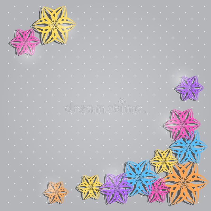 Cartão do convite do cumprimento com as flores de papel coloridas ilustração do vetor