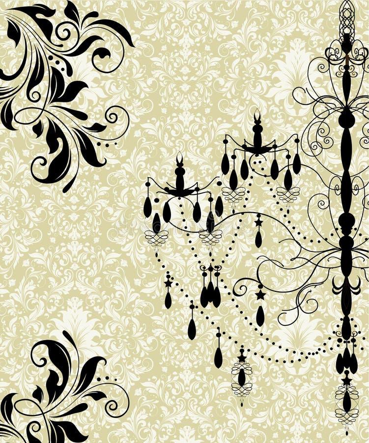 Cartão do convite do damasco ilustração stock